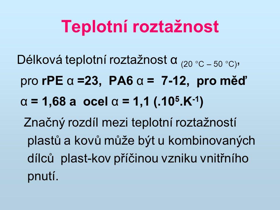 Teplotní roztažnost Délková teplotní roztažnost α (20 °C – 50 °C), pro rPE α =23, PA6 α = 7-12, pro měď α = 1,68 a ocel α = 1,1 (.10 5.K -1 ) Značný rozdíl mezi teplotní roztažností plastů a kovů může být u kombinovaných dílců plast-kov příčinou vzniku vnitřního pnutí.