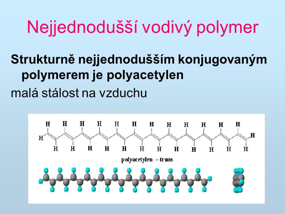 Nejjednodušší vodivý polymer Strukturně nejjednodušším konjugovaným polymerem je polyacetylen malá stálost na vzduchu