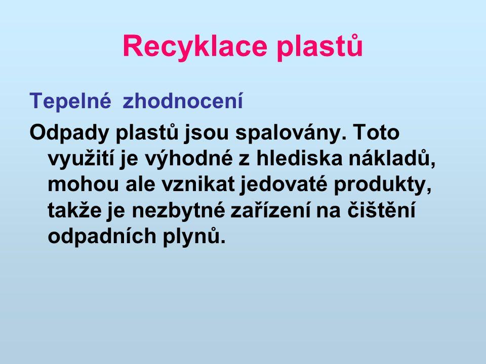 Recyklace plastů Tepelné zhodnocení Odpady plastů jsou spalovány.