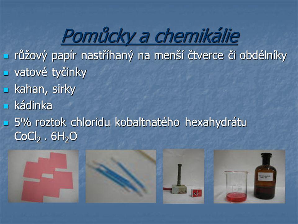 Pomůcky a chemikálie růžový papír nastříhaný na menší čtverce či obdélníky růžový papír nastříhaný na menší čtverce či obdélníky vatové tyčinky vatové