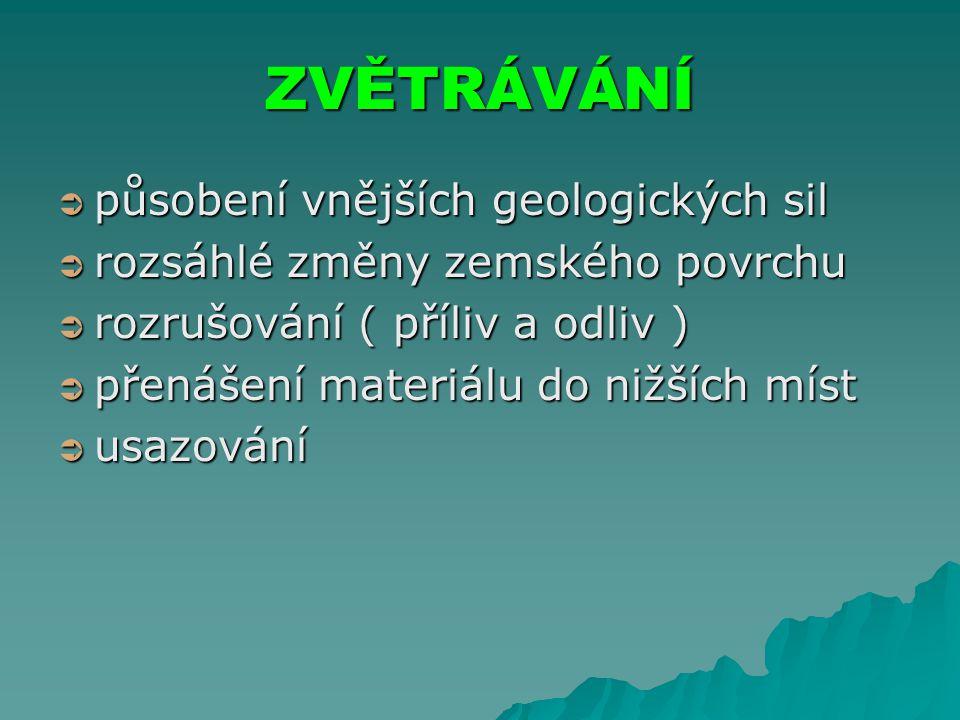 ZVĚTRÁVÁNÍ ppppůsobení vnějších geologických sil rrrrozsáhlé změny zemského povrchu rrrrozrušování ( příliv a odliv ) ppppřenášení materiálu do nižších míst uuuusazování