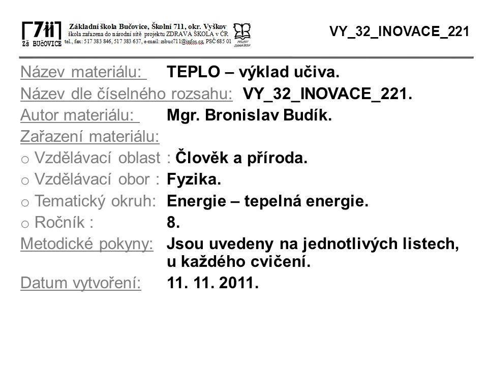 Název materiálu: TEPLO – výklad učiva. Název dle číselného rozsahu: VY_32_INOVACE_221. Autor materiálu: Mgr. Bronislav Budík. Zařazení materiálu: o Vz