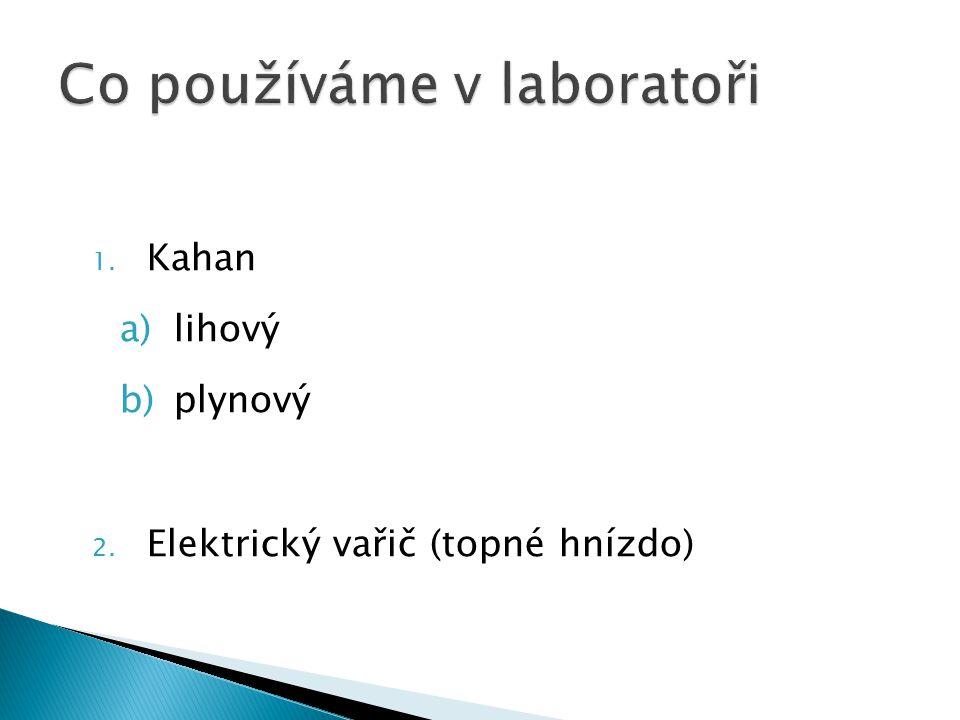 1. Kahan a)lihový b)plynový 2. Elektrický vařič (topné hnízdo)