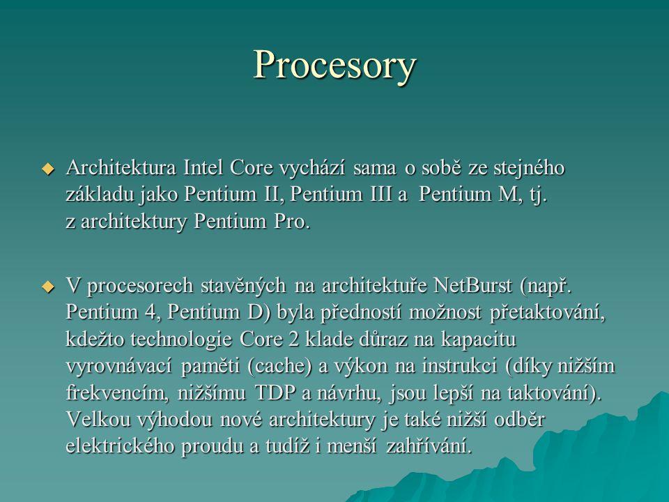 Procesory  Architektura Intel Core vychází sama o sobě ze stejného základu jako Pentium II, Pentium III a Pentium M, tj.