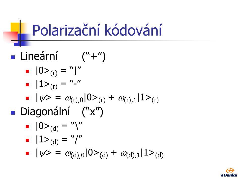 Polarizační kódování Lineární( + ) |0> (r) = | |1> (r) = - |  > =  (r),0 |0> (r) +  (r),1 |1> (r) Diagonální( x ) |0> (d) = \ |1> (d) = / |  > =  (d),0 |0> (d) +  (d),1 |1> (d)
