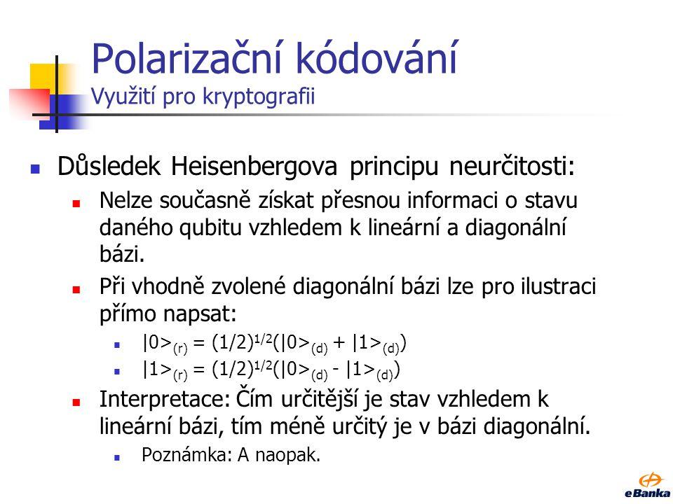 Polarizační kódování Využití pro kryptografii Důsledek Heisenbergova principu neurčitosti: Nelze současně získat přesnou informaci o stavu daného qubitu vzhledem k lineární a diagonální bázi.
