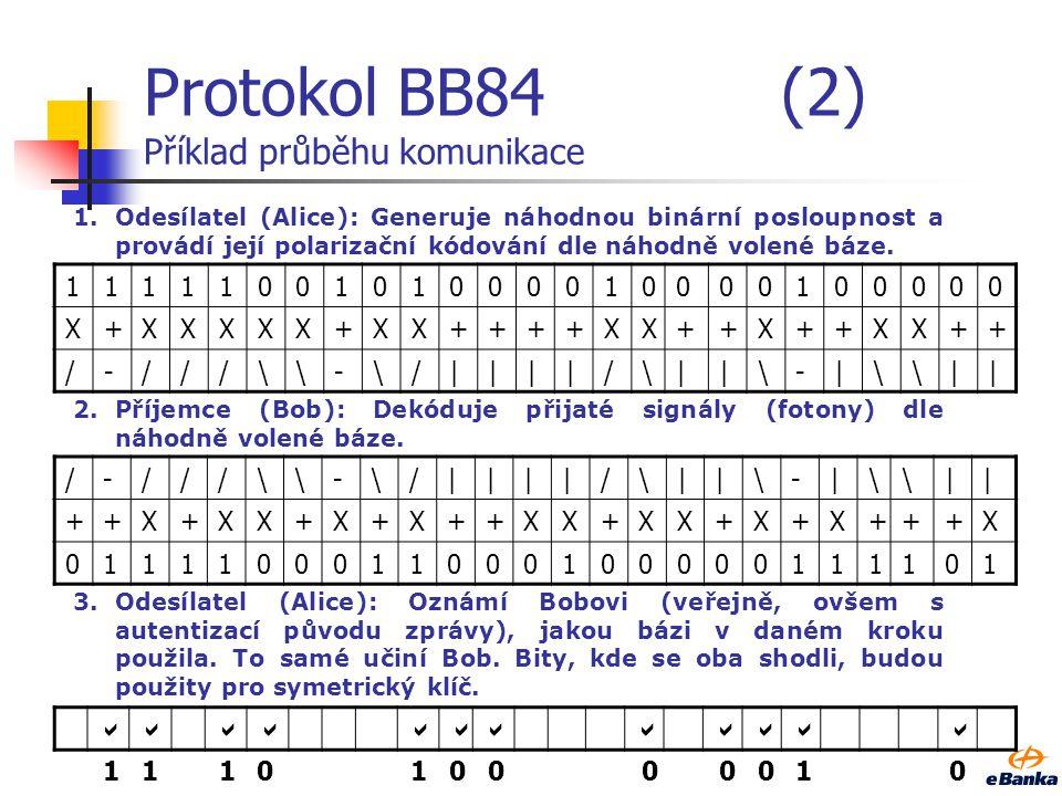 Protokol BB84(2) Příklad průběhu komunikace 1111100101000010000100000 X+XXXXX+XX++++XX++X++XX++ /-///\-\/||||/\||\-|\|| /-///\-\/||||/\||\-|\|| ++