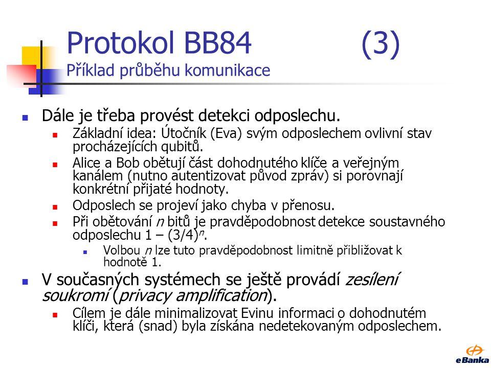 Protokol BB84(3) Příklad průběhu komunikace Dále je třeba provést detekci odposlechu. Základní idea: Útočník (Eva) svým odposlechem ovlivní stav proch