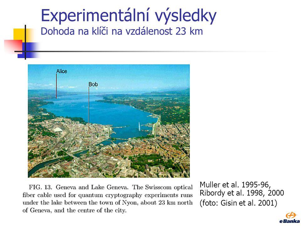 Experimentální výsledky Dohoda na klíči na vzdálenost 23 km Muller et al. 1995-96, Ribordy et al. 1998, 2000 (foto: Gisin et al. 2001)