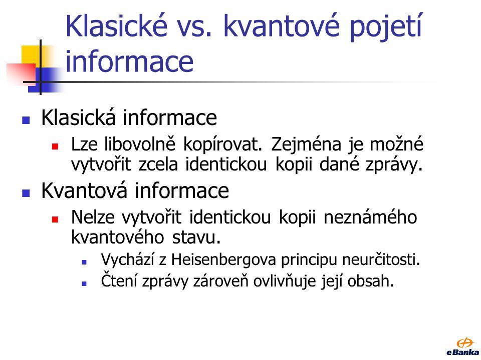 Klasické vs.kvantové pojetí informace Klasická informace Lze libovolně kopírovat.