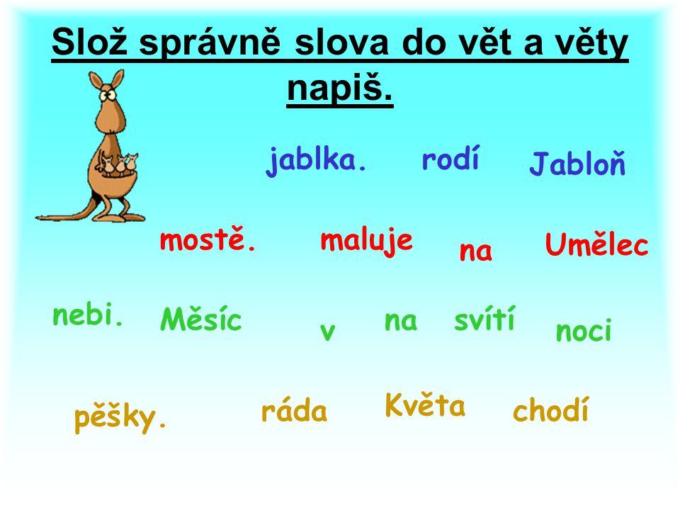 Slož správně slova do vět a věty napiš. Jabloň rodíjablka.