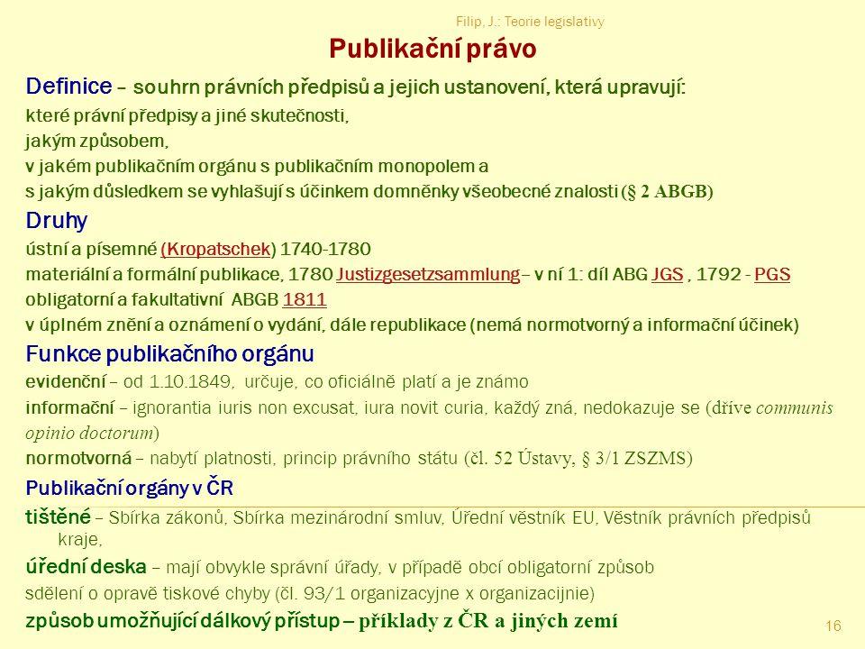 Filip, J.: Teorie legislativy 15 Příklad dotváření textu ustanovení právního předpisu  Čl. 16/1 náboženská svoboda (II. ÚS 227/97)  Správa věznice z