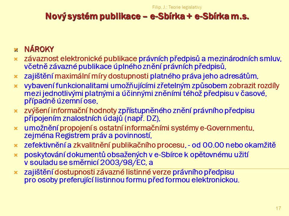 Filip, J.: Teorie legislativy 16 Publikační právo Definice – souhrn právních předpisů a jejich ustanovení, která upravují: které právní předpisy a jin