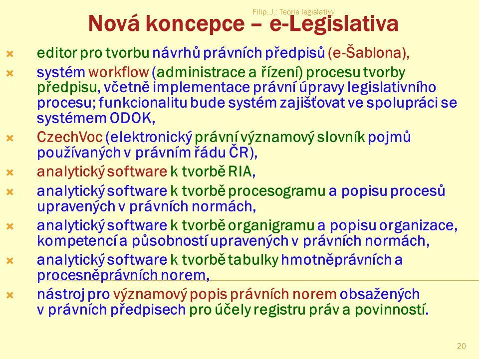 Filip, J.: Teorie legislativy 19 Součásti datového zdroje od 2013  platné právní předpisy,  právní předpisy které pozbyly platnosti, a další právní
