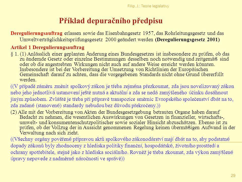 Filip, J.: Teorie legislativy 28 Typy systemizace právního řádu
