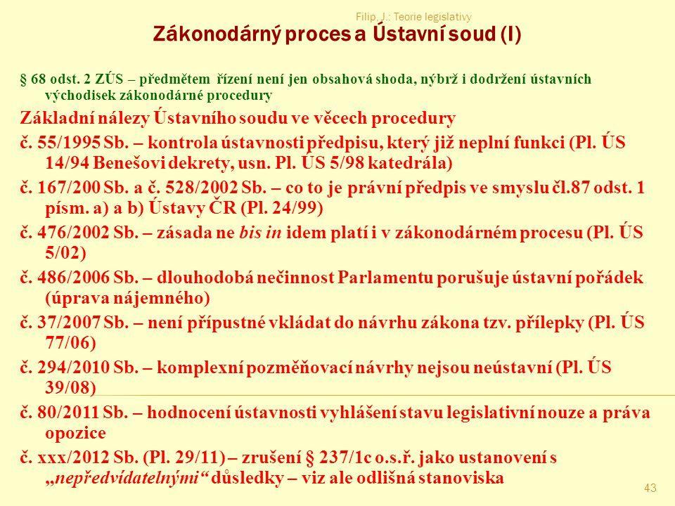 Filip, J.: Teorie legislativy 42 Zákonodárný proces