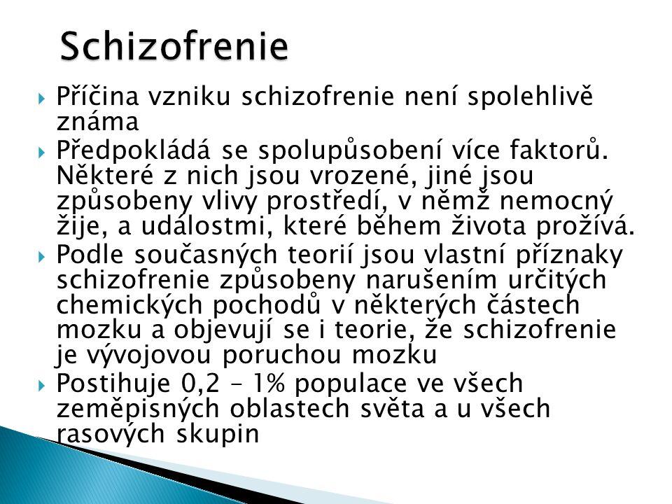  Příčina vzniku schizofrenie není spolehlivě známa  Předpokládá se spolupůsobení více faktorů.