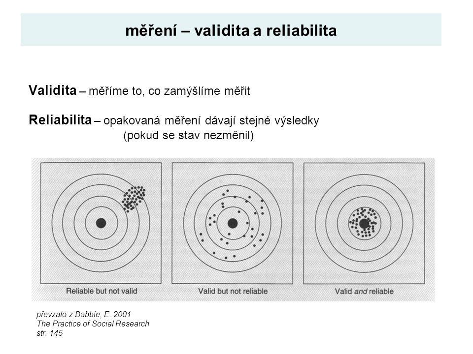 Validita – měříme to, co zamýšlíme měřit Reliabilita – opakovaná měření dávají stejné výsledky (pokud se stav nezměnil) měření – validita a reliabilit