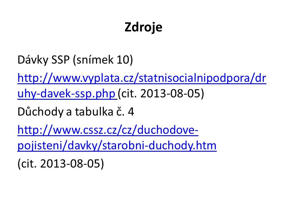 Zdroje Dávky SSP (snímek 10) http://www.vyplata.cz/statnisocialnipodpora/dr uhy-davek-ssp.phphttp://www.vyplata.cz/statnisocialnipodpora/dr uhy-davek-ssp.php (cit.