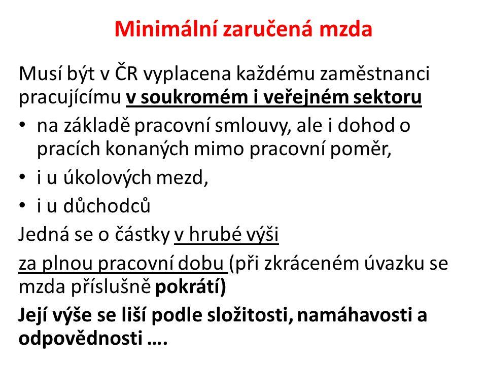 Minimální zaručená mzda Musí být v ČR vyplacena každému zaměstnanci pracujícímu v soukromém i veřejném sektoru na základě pracovní smlouvy, ale i dohod o pracích konaných mimo pracovní poměr, i u úkolových mezd, i u důchodců Jedná se o částky v hrubé výši za plnou pracovní dobu (při zkráceném úvazku se mzda příslušně pokrátí) Její výše se liší podle složitosti, namáhavosti a odpovědnosti ….