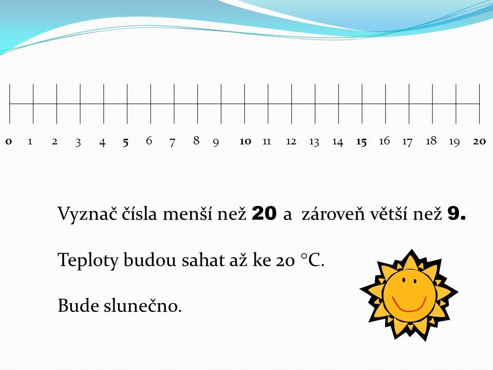 01234567891011121314151617181920 Vyznač čísla menší než 20 a zároveň větší než 9.