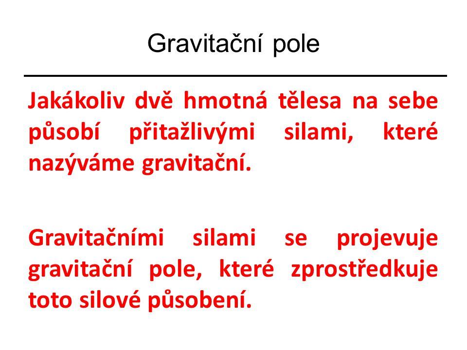 Gravitační pole Jakákoliv dvě hmotná tělesa na sebe působí přitažlivými silami, které nazýváme gravitační. Gravitačními silami se projevuje gravitační