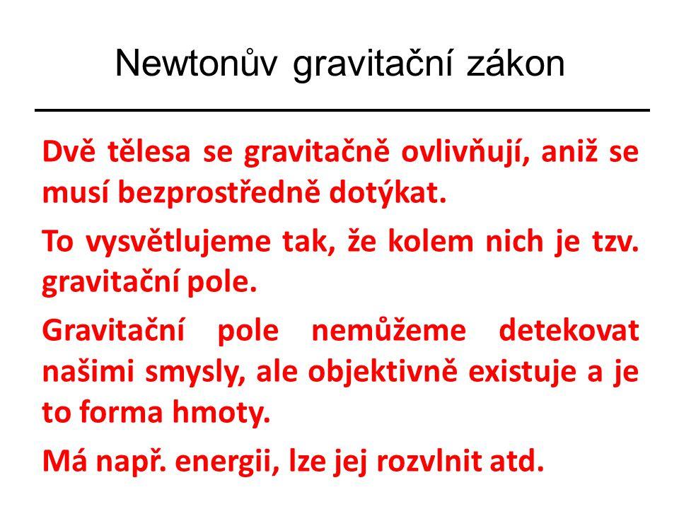 Newtonův gravitační zákon Dvě tělesa se gravitačně ovlivňují, aniž se musí bezprostředně dotýkat. To vysvětlujeme tak, že kolem nich je tzv. gravitačn