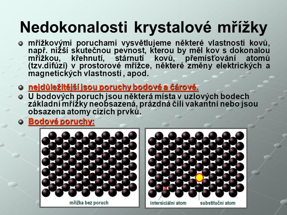 Nedokonalosti krystalové mřížky mřížkovými poruchami vysvětlujeme některé vlastnosti kovů, např. nižší skutečnou pevnost, kterou by měl kov s dokonalo