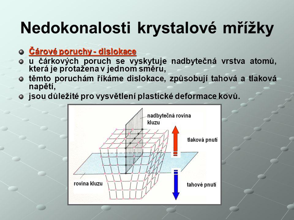 Čárové poruchy - dislokace u čárkových poruch se vyskytuje nadbytečná vrstva atomů, která je protažena v jednom směru, těmto poruchám říkáme dislokace