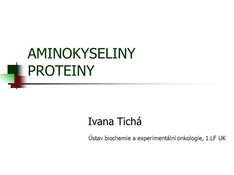 Proteiny Významné organické sloučeniny lineární polymery tvořené monomerními jednotkami -  -aminokyselinami (AA) (prvky: C, H, O, N, S) bílkoviny/proteiny= molekuly složené z více než 50 AA peptidy= molekuly složené z méně než 50 AA
