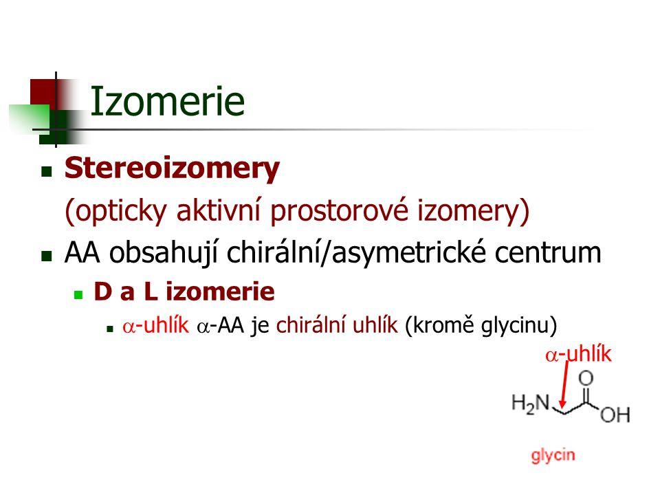 Izomerie Stereoizomery (opticky aktivní prostorové izomery) AA obsahují chirální/asymetrické centrum D a L izomerie  -uhlík  -AA je chirální uhlík (