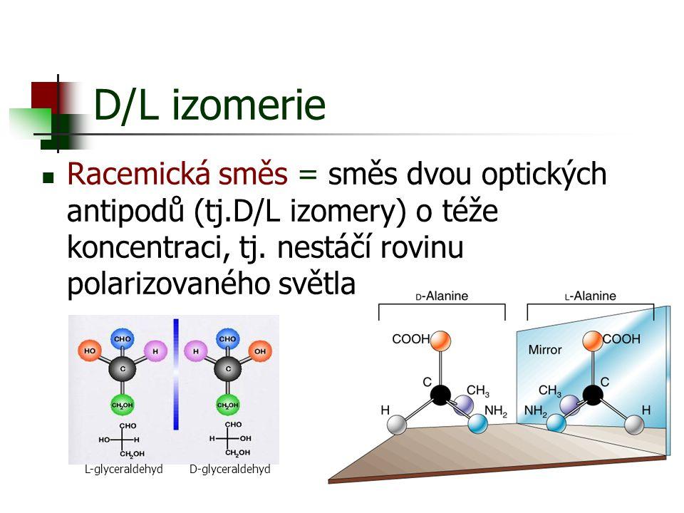Racemická směs = směs dvou optických antipodů (tj.D/L izomery) o téže koncentraci, tj. nestáčí rovinu polarizovaného světla D/L izomerie L-glyceraldeh