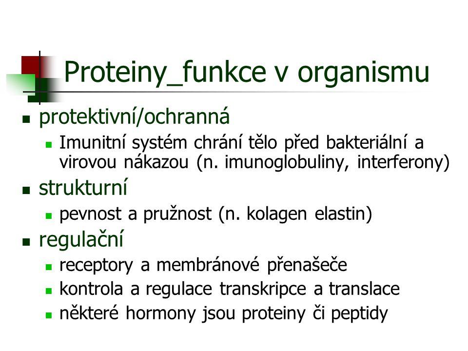 Proteiny proteiny jsou složeny z 20 (+1) standardních AA spojených peptidovou vazbou Standardní AA = taková AA, pro kterou existuje alespoň jeden kodón v genetickém kódu Genetický kód = souhrn pravidel, podle kterých se přepisuje informace obsažená v DNA do proteinu Kodón = triplet nukleotidů Odvozené AA = chemická přeměna AA již zainkorporovaných do řetězce