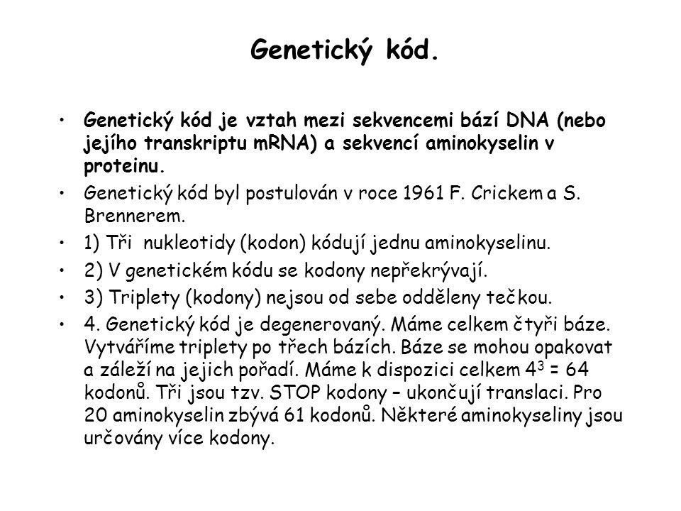 Genetický kód. Genetický kód je vztah mezi sekvencemi bází DNA (nebo jejího transkriptu mRNA) a sekvencí aminokyselin v proteinu. Genetický kód byl po