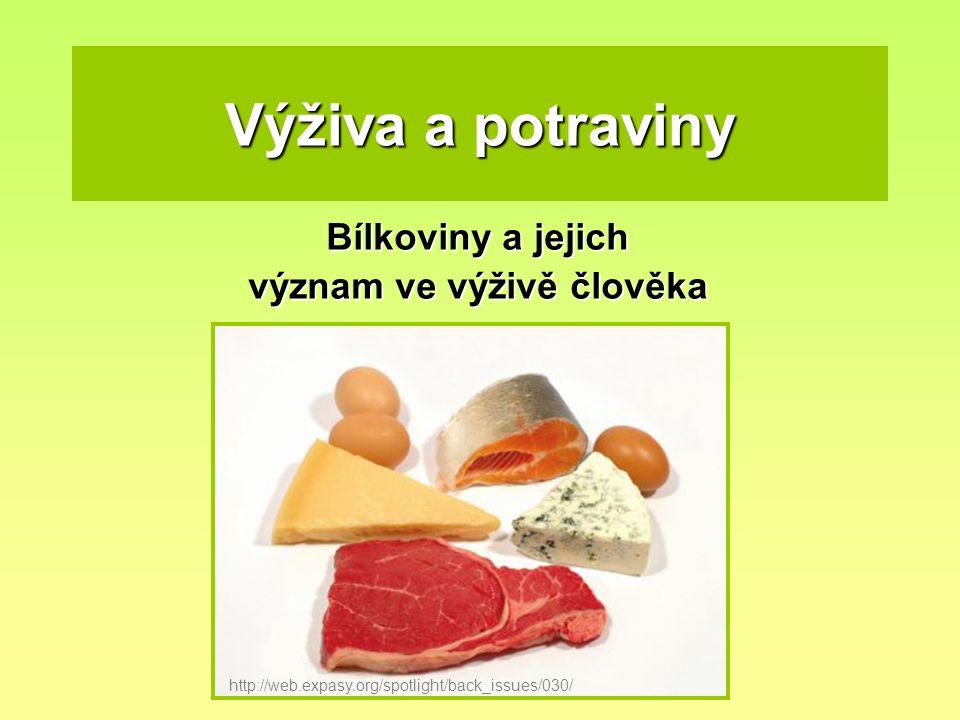 Výživa a potraviny Bílkoviny a jejich význam ve výživě člověka http://web.expasy.org/spotlight/back_issues/030/