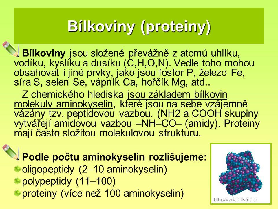 Bílkoviny (proteiny) Bílkoviny jsou složené převážně z atomů uhlíku, vodíku, kyslíku a dusíku (C,H,O,N). Vedle toho mohou obsahovat i jiné prvky, jako