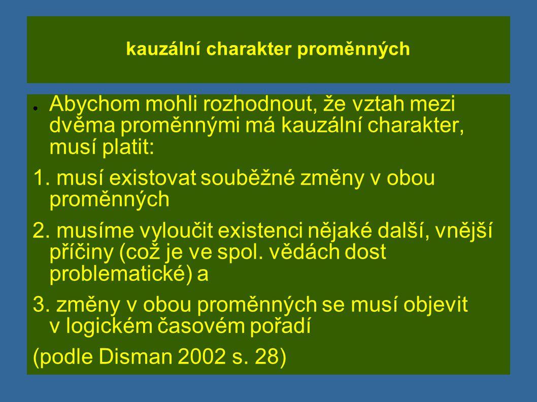 kauzální charakter proměnných ● Abychom mohli rozhodnout, že vztah mezi dvěma proměnnými má kauzální charakter, musí platit: 1. musí existovat souběžn