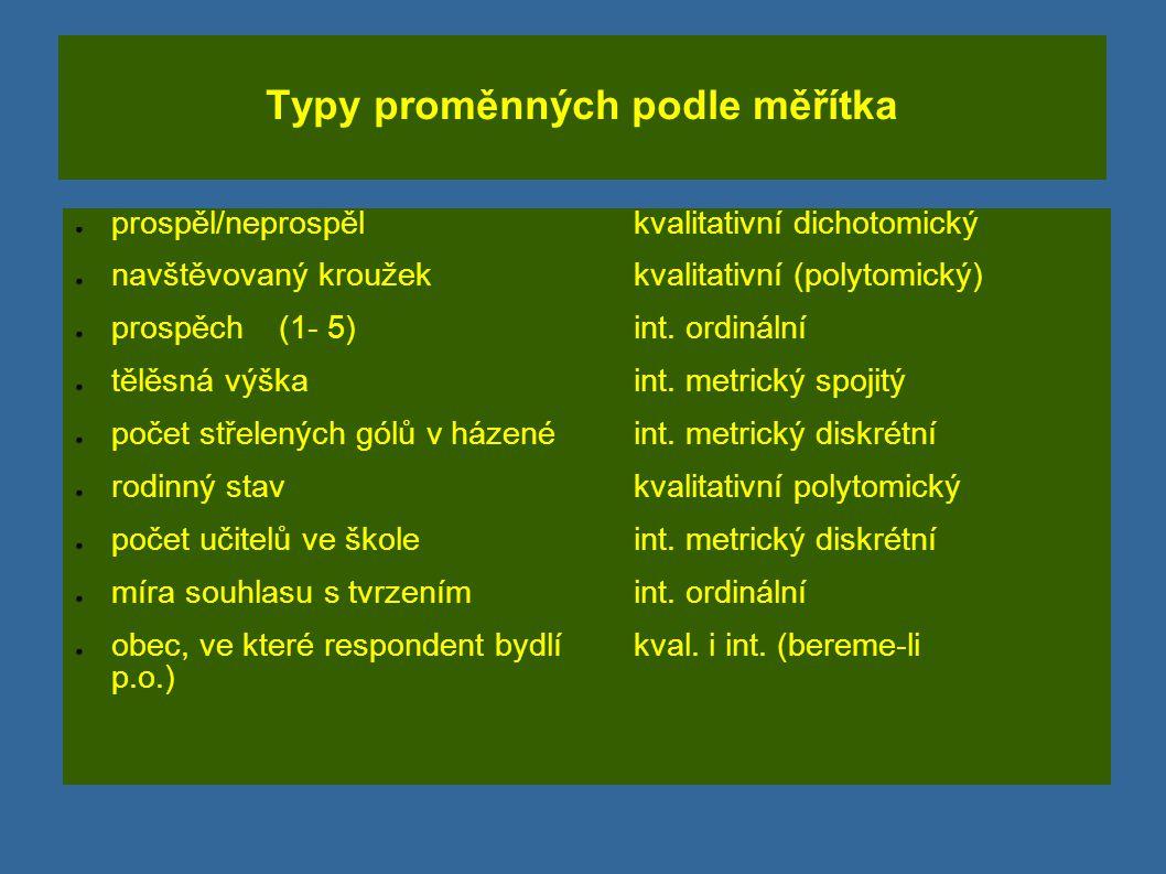 Typy proměnných podle měřítka ● prospěl/neprospělkvalitativní dichotomický ● navštěvovaný kroužekkvalitativní (polytomický) ● prospěch (1- 5)int. ordi