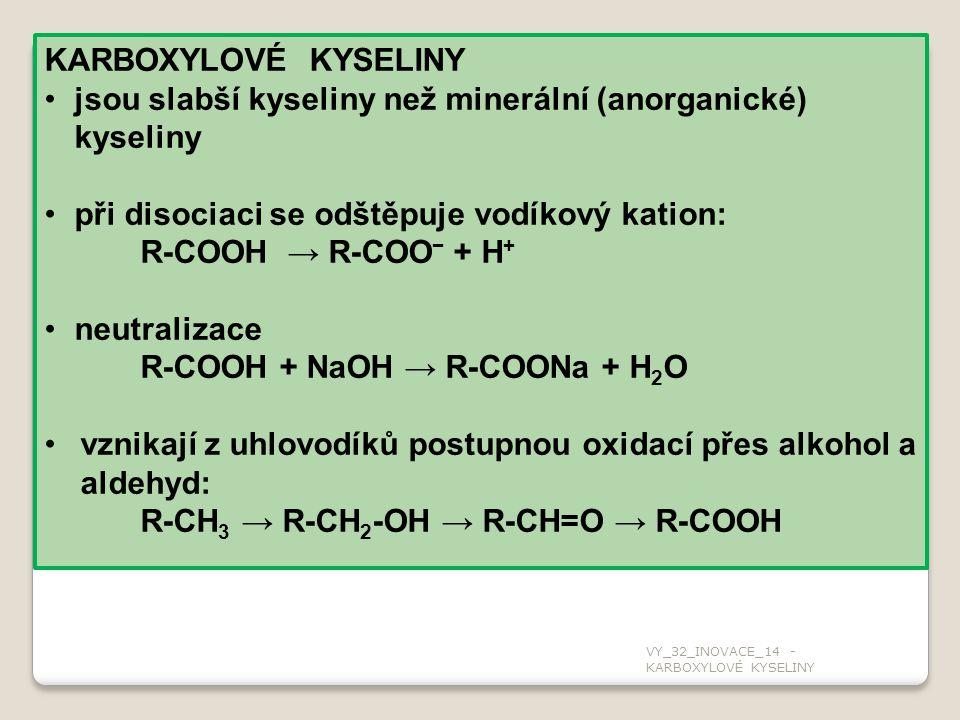 KARBOXYLOVÉ KYSELINY jsou slabší kyseliny než minerální (anorganické) kyseliny při disociaci se odštěpuje vodíkový kation: R-COOH → R-COO − + H + neutralizace R-COOH + NaOH → R-COONa + H 2 O vznikají z uhlovodíků postupnou oxidací přes alkohol a aldehyd: R-CH 3 → R-CH 2 -OH → R-CH=O → R-COOH VY_32_INOVACE_14 - KARBOXYLOVÉ KYSELINY