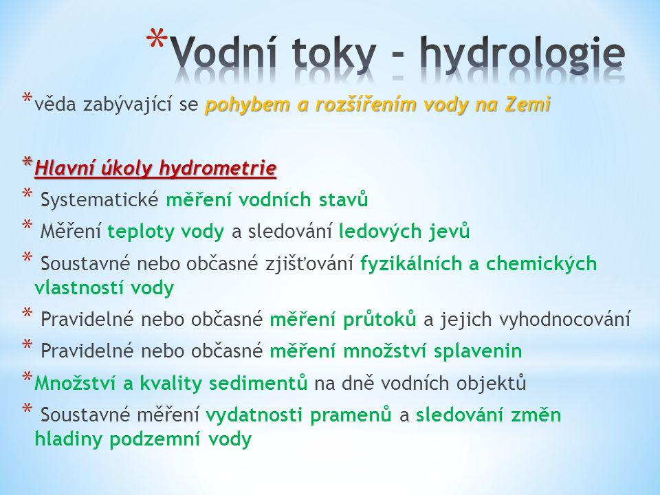 pohybem a rozšířením vody na Zemi * věda zabývající se pohybem a rozšířením vody na Zemi * Hlavní úkoly hydrometrie * Systematické měření vodních stav
