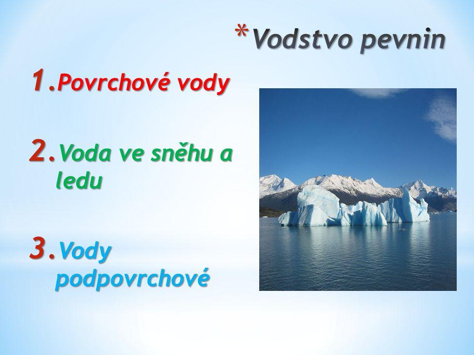 1. Povrchové vody 2. Voda ve sněhu a ledu 3. Vody podpovrchové