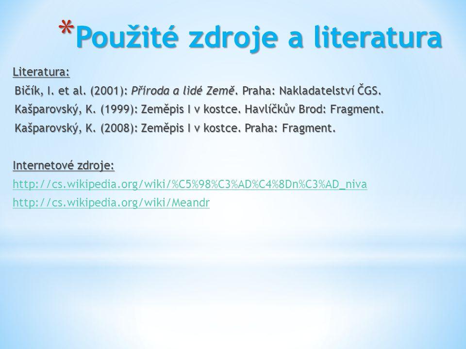 * Použité zdroje a literatura Literatura: Bičík, I. et al. (2001): Příroda a lidé Země. Praha: Nakladatelství ČGS. Kašparovský, K. (1999): Zeměpis I v