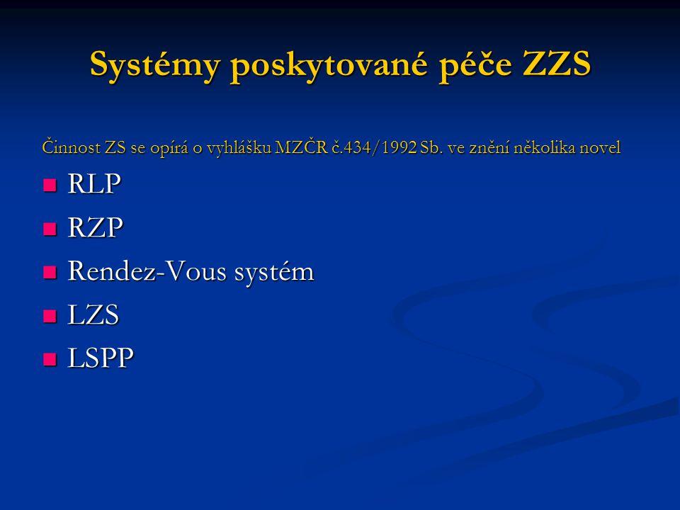 Systémy poskytované péče ZZS Činnost ZS se opírá o vyhlášku MZČR č.434/1992 Sb.