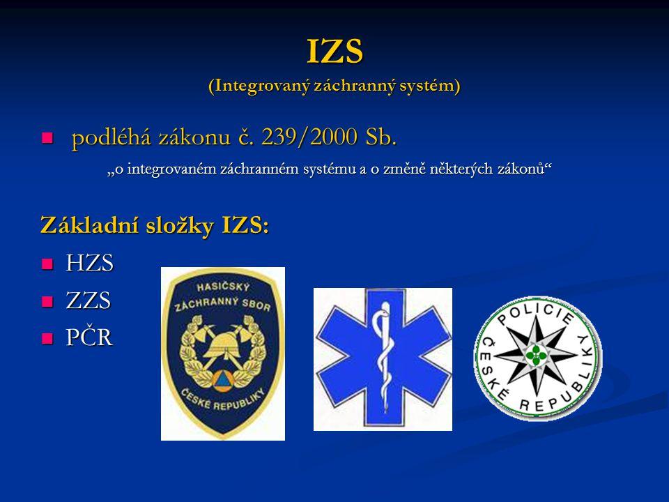 IZS (Integrovaný záchranný systém) podléhá zákonu č.