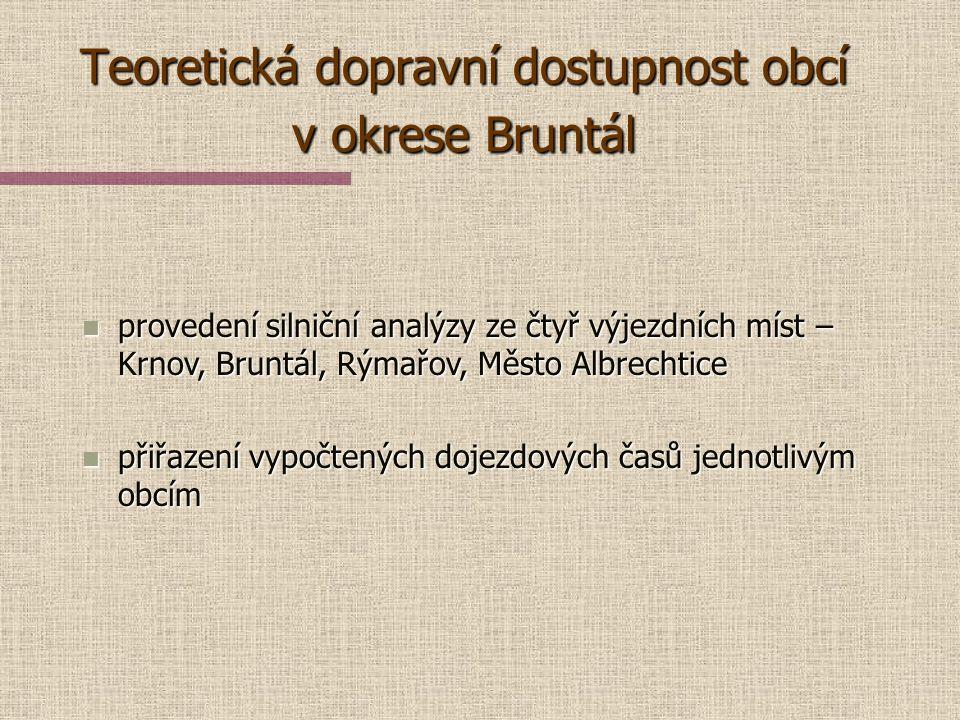 Teoretická dopravní dostupnost obcí v okrese Bruntál n příprava dat pro provedení silniční analýzy – ohodnocení jednotlivých úseků silniční sítě DMU 2