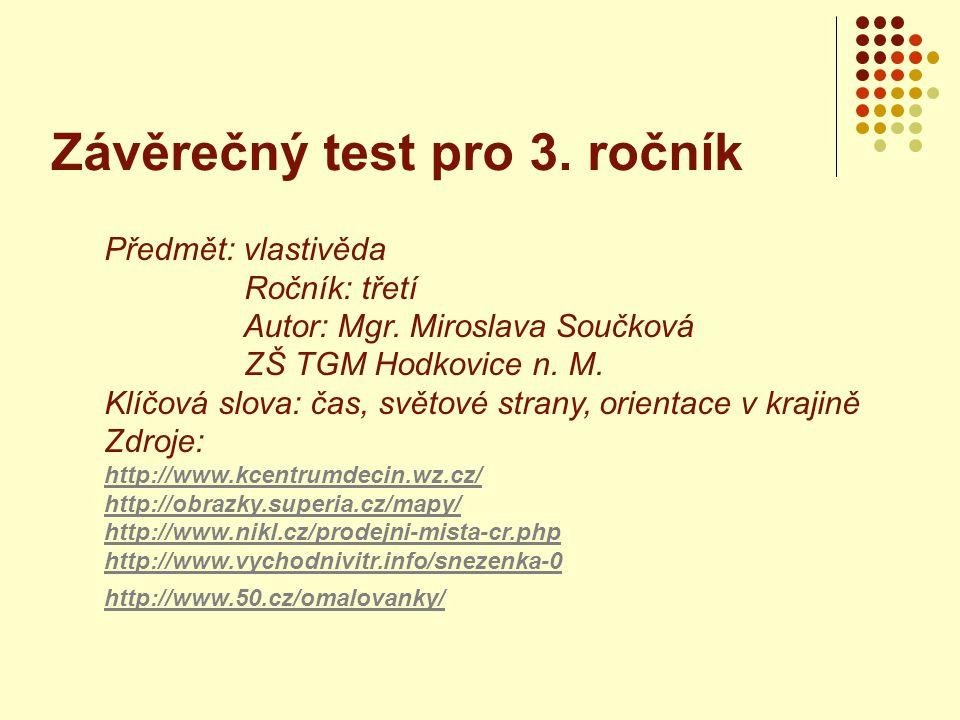 Závěrečný test pro 3.ročník Předmět: vlastivěda Ročník: třetí Autor: Mgr.