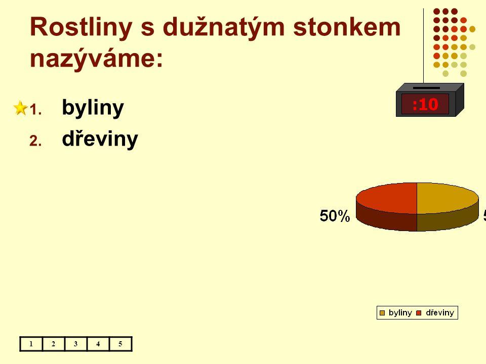 Rostliny s dužnatým stonkem nazýváme: :10 12345 1. byliny 2. dřeviny