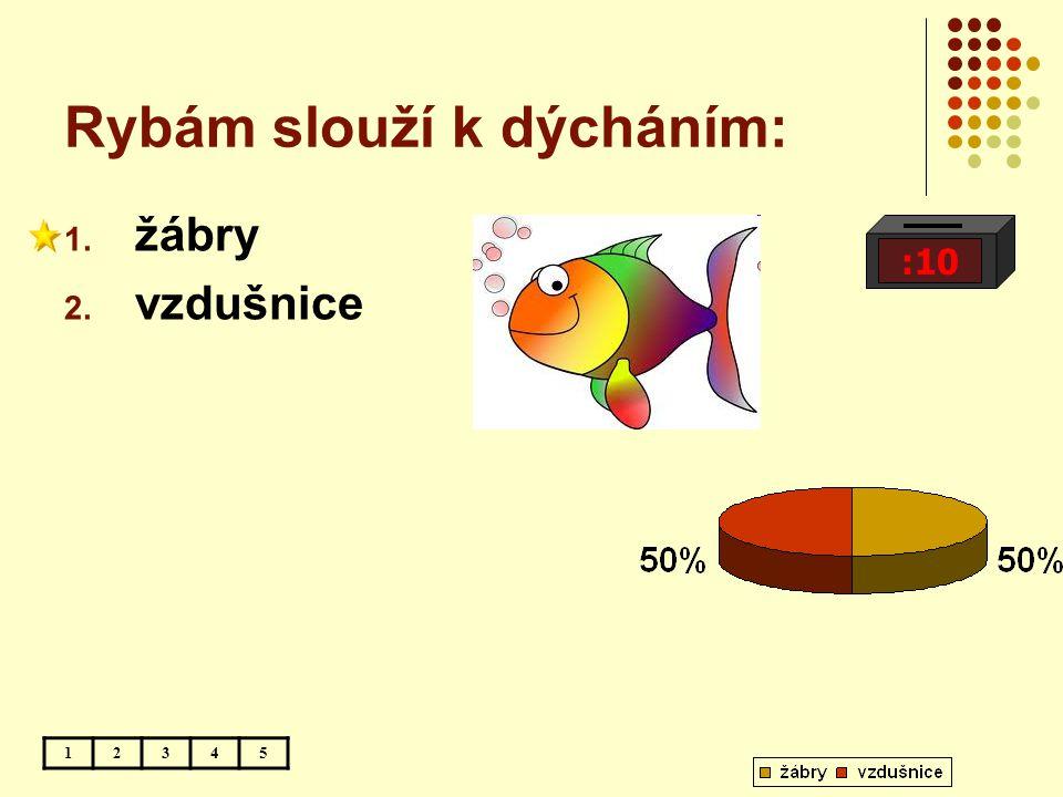 Rybám slouží k dýcháním: :10 12345 1. žábry 2. vzdušnice