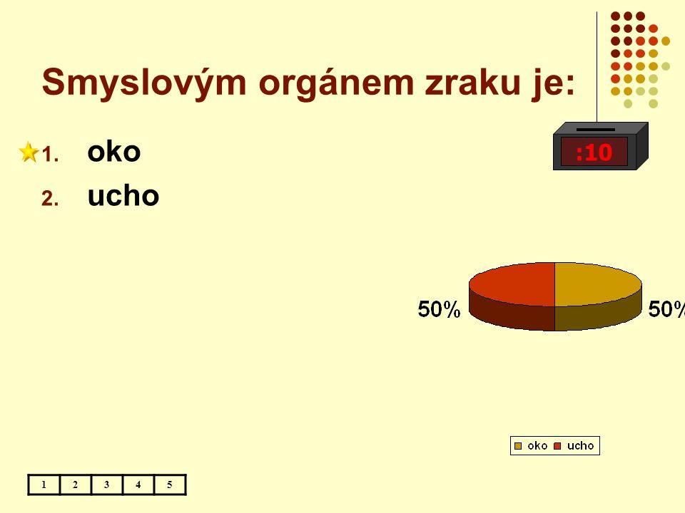 Smyslovým orgánem zraku je: :10 12345 1. oko 2. ucho