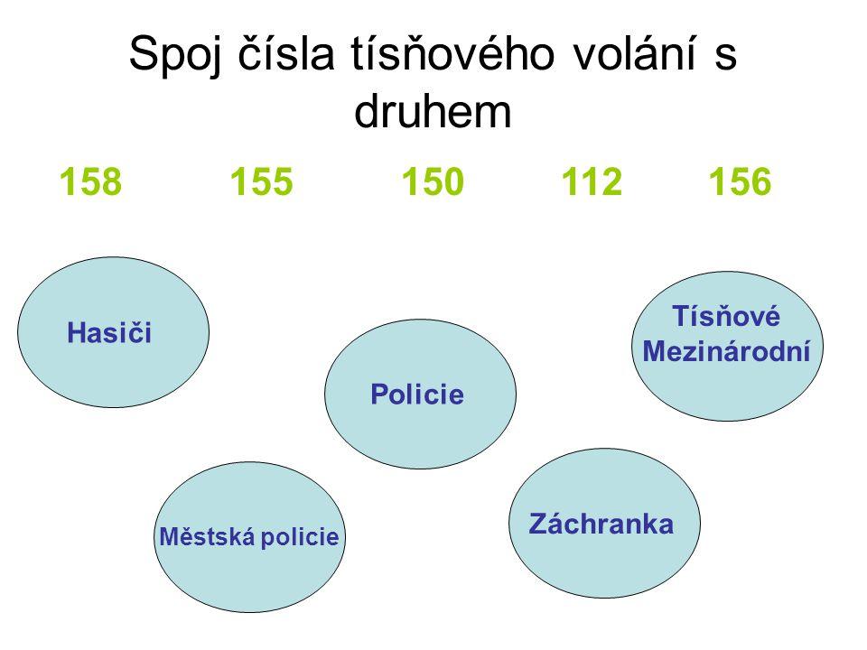 Spoj čísla tísňového volání s druhem 158 155 150 112 156 Policie Hasiči Městská policie Záchranka Tísňové Mezinárodní